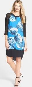 DKNYC Blue and black floral sheer dress.